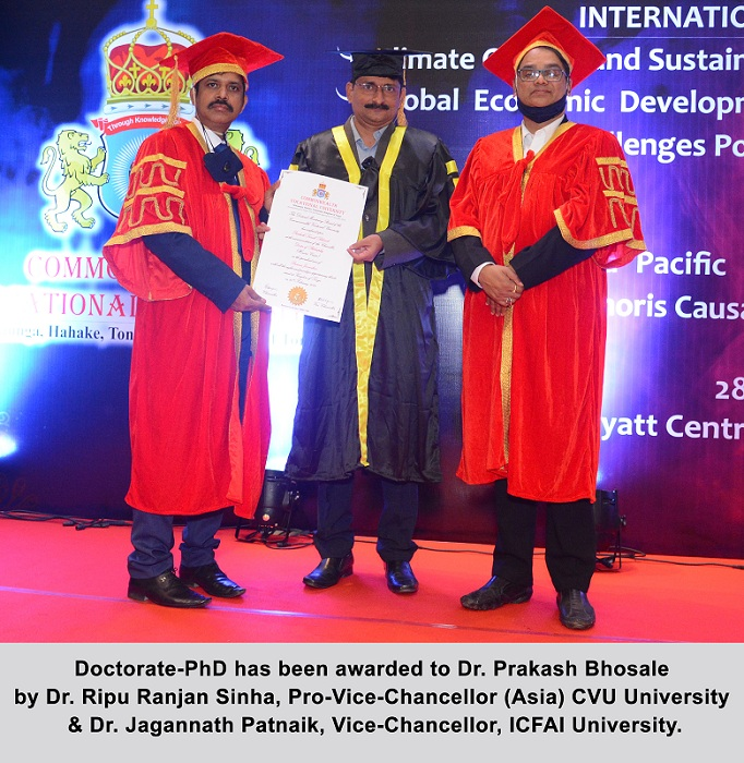 "Dr. Prakash Bhosale received a Doctorate in ""Business Journalism"" for his remarkable work in Entrepreneurship & Business Writing"